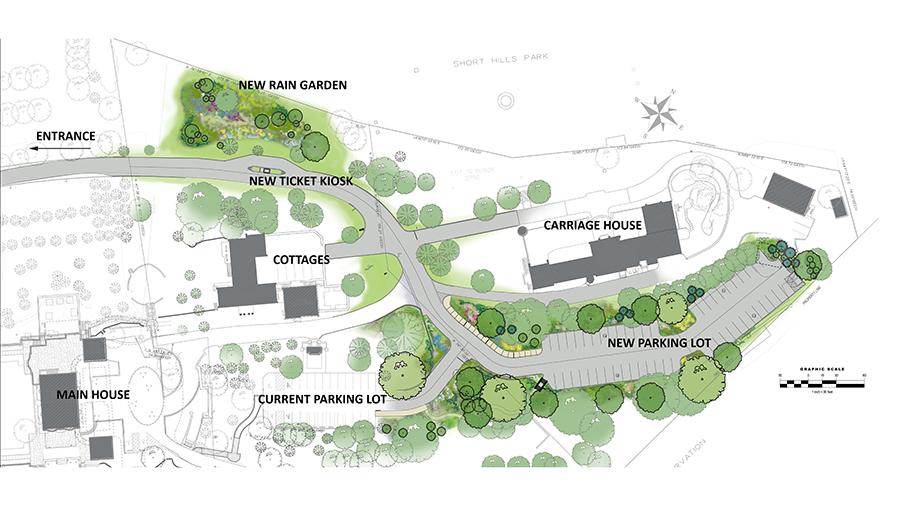 Rendering of the new parking lot & rain garden